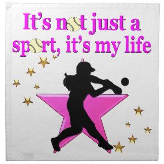 ピンクによってすごい星のソフトボールは私の生命デザインです ナプキンクロス