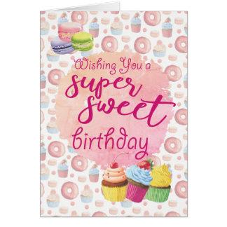 ピンクによってすごい菓子のカップケーキの誕生日 カード