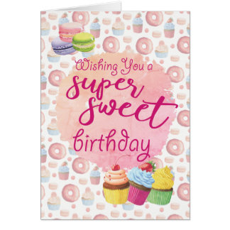 ピンクによってすごい菓子のカップケーキの誕生日 グリーティングカード