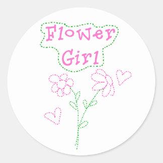 ピンクによってはフラワー・ガールが開花します ラウンドシール