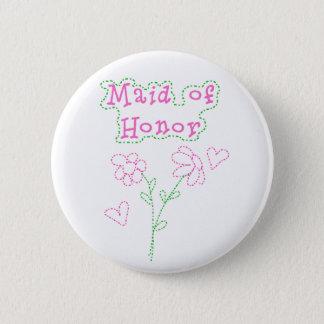 ピンクによってはメイド・オブ・オーナー(花嫁付き添い人)が開花します 5.7CM 丸型バッジ