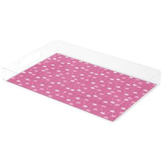 ピンクによっては長方形のアクリルの皿が開花します アクリルトレー