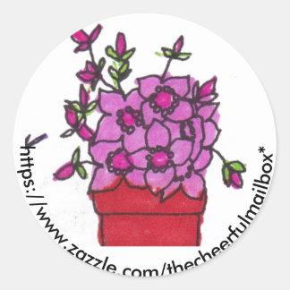 ピンクによっては陽気なポストの円形のステッカーが開花します ラウンドシール