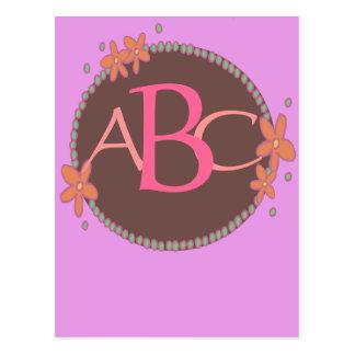 ピンクによって組み立てられるモノグラムのなセット ポストカード