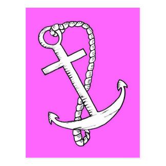 ピンクのいかりの白 ポストカード