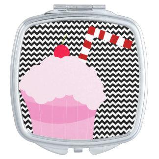 ピンクのいちごのソーダシェブロンのコンパクトの鏡