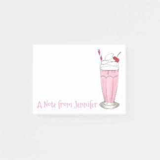 ピンクのいちごのミルクセーキの名前入りなアイスクリーム ポストイット