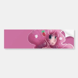 ピンクのいちごの妖精 バンパーステッカー