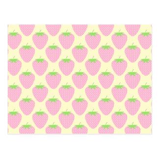 ピンクのいちごパターン ポストカード
