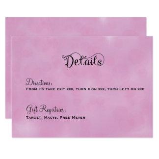 ピンクのおとぎ話の結婚式の明細カード カード