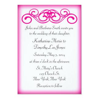 ピンクのおとぎ話スクロール結婚式 カード