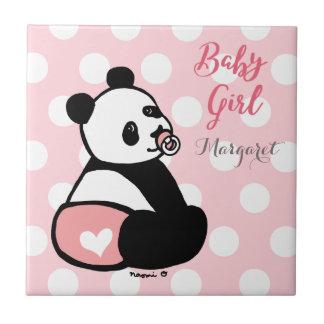 ピンクのおむつのタイルのベビーのパンダの女の赤ちゃん タイル