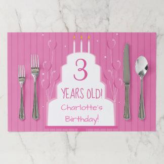 ピンクのお誕生日ケーキおよび気球|のTearawayのランチョンマット ペーパーランチョンマット