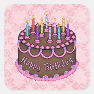 ピンクのお誕生日ケーキのステッカー スクエアシール