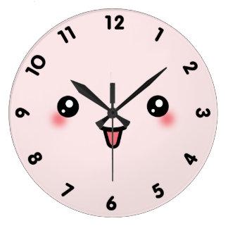 ピンクのかわいいかわいいの顔 ラージ壁時計