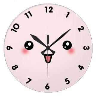 ピンクのかわいいかわいいの顔 壁時計