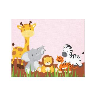 ピンクのかわいいジャングルのベビー動物のキャンバスプリント キャンバスプリント