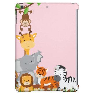 ピンクのかわいいジャングルのベビー動物のiPadの空気箱