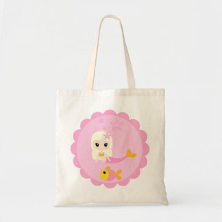 ピンクのかわいい人魚 トートバッグ