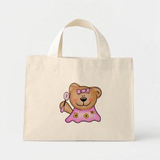 ピンクのかわいい女の赤ちゃんのテディー・ベア ミニトートバッグ