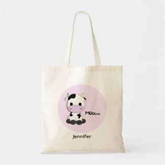 ピンクのかわいい牛漫画-カスタマイズ可能な一流の戦闘状況表示板 トートバッグ