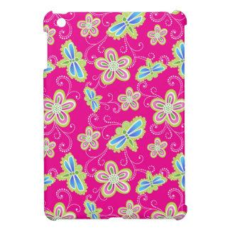 ピンクのかわいい花、トンボおよび渦巻 iPad MINIケース