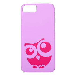 ピンクのかわいくシンプルなフクロウの電話箱 iPhone 8/7ケース