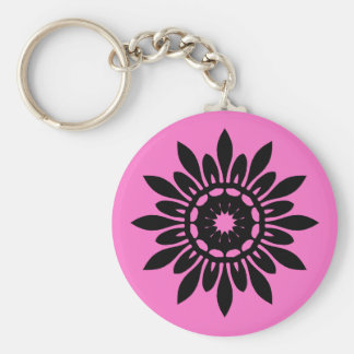 ピンクのかわいく黒い曼荼羅の花 キーホルダー
