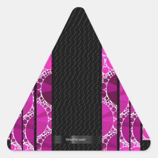 ピンクのきらきら光るでユニークなパターン 三角形シール