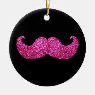 ピンクのきらきら光るな髭(模造のなグリッターのグラフィック) セラミックオーナメント