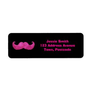 ピンクのきらきら光るな髭(模造のなグリッターのグラフィック) ラベル