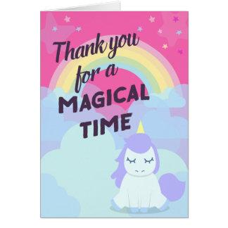 ピンクのきらめくな魔法の虹のユニコーンは感謝していしています カード
