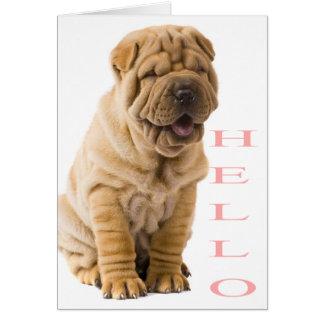 ピンクのこんにちはShar Peiの小犬のブランク カード