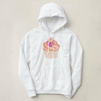 ピンクのさくらんぼおよびオレンジが付いているオレンジカップケーキは縞で飾ります パーカ