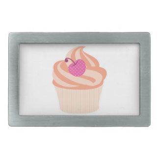 ピンクのさくらんぼおよびオレンジが付いているオレンジカップケーキは縞で飾ります 長方形ベルトバックル