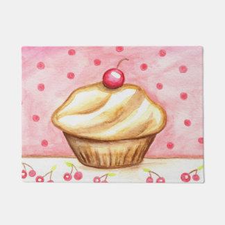 ピンクのさくらんぼのカップケーキのベーカリーの台所敷物の玄関マット ドアマット