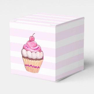 ピンクのさくらんぼのカップケーキ箱 フェイバーボックス