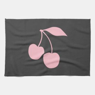 ピンクのさくらんぼ キッチンタオル
