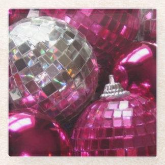 ピンクのつまらないものガラスのコースター ガラスコースター