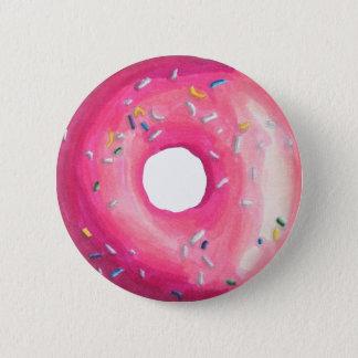 ピンクのつや消しのドーナツは振りかけ、 5.7CM 丸型バッジ