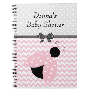 ピンクのてんとう虫のベビーシャワーのノート ノートブック