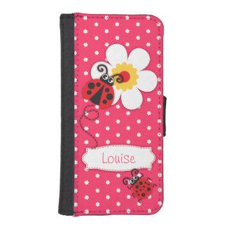 ピンクのてんとう虫のポルカのフラワー・ガールのiPhoneの折り返しの箱 iPhoneSE/5/5sウォレットケース