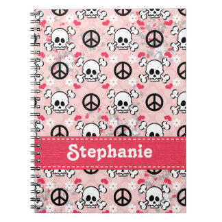 ピンクのどくろ印の螺線形ノートジャーナル ノートブック