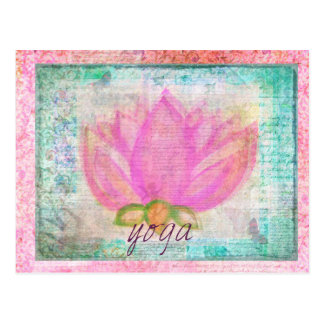 ピンクのはすの花のヨガ ポストカード