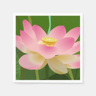 ピンクのはすの花 スタンダードカクテルナプキン
