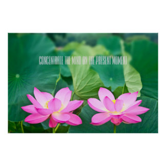 ピンクのはすカップルのインスピレーションの組の池の緑の葉 ポスター