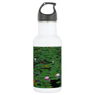 ピンクのはすスイレンの花の池 ウォーターボトル