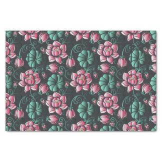 ピンクのはすモチーフのエレガントな花パターン 薄葉紙