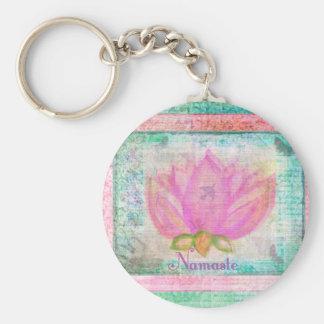 ピンクのはす花のナマステのヨガ キーホルダー