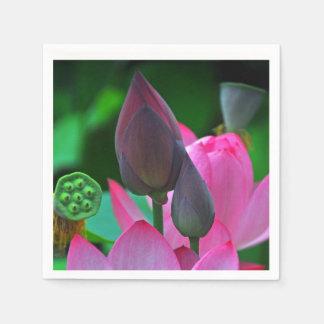 ピンクのはす花 スタンダードカクテルナプキン